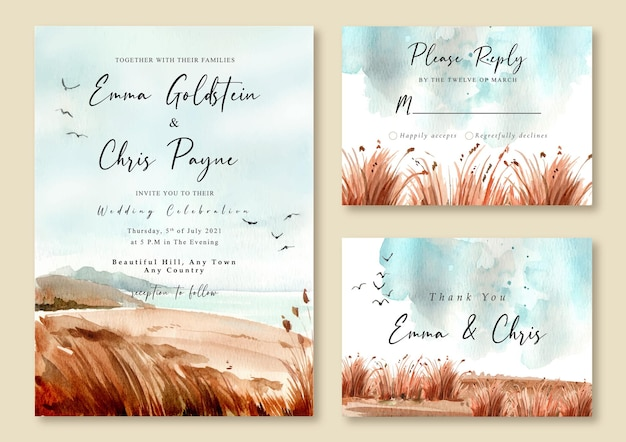 Wedding invitation with watercolor landscape of beach and blue sky