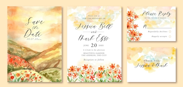 Wedding invitation with watercolor landscape of beautiful sunset orange floral field