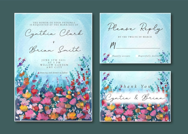 Wedding invitation with watercolor landscape of blue and purple florals