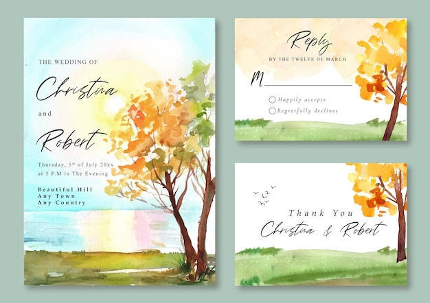 Wedding invitation with watercolor landscape  of the lake and sunset sky