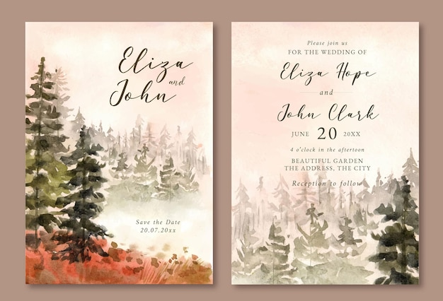 Wedding invitation with watercolor landscape of misty pine forest