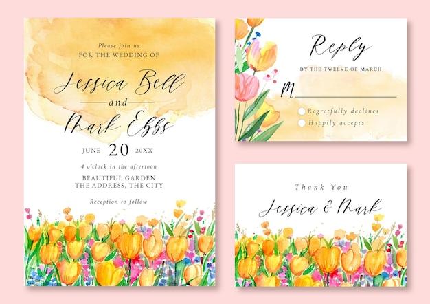 美しいオレンジとピンクのチューリップの水彩画の風景と結婚式の招待状