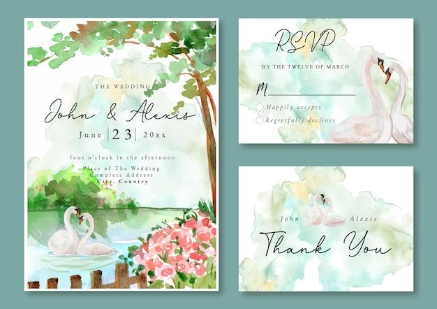 青い湖と白鳥の水彩画の風景と結婚式の招待状