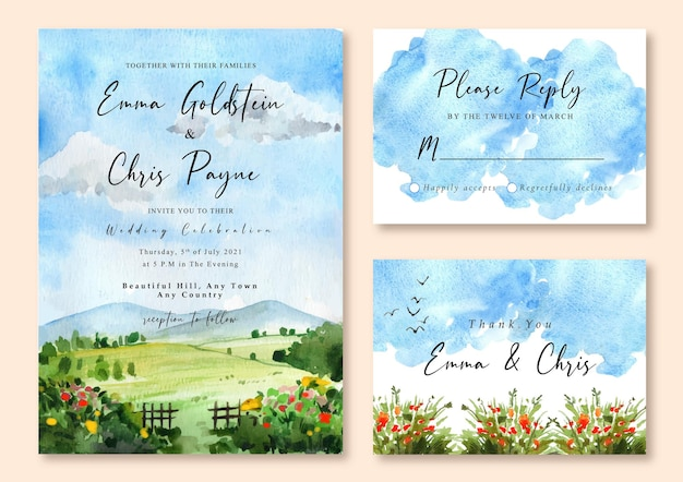 青い空と緑の野原の水彩画の風景と結婚式の招待状
