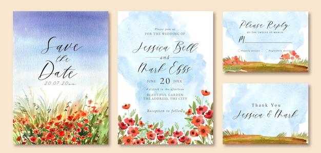 花畑の水彩画の風景と結婚式の招待状