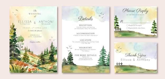 緑の丘と松の木の水彩画の風景と結婚式の招待状