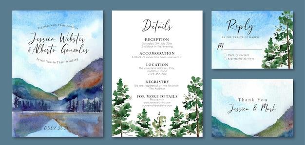 丘と湖の水彩画の風景と結婚式の招待状