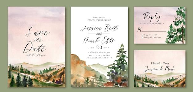 松の木でいっぱいの丘の水彩画の風景と結婚式の招待状