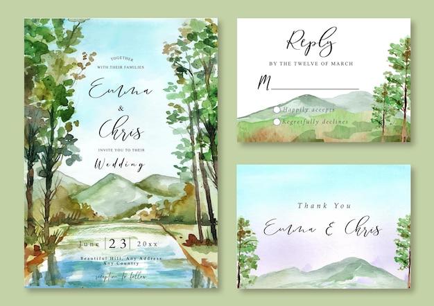 Приглашение на свадьбу с акварельным пейзажем озера в лесу и видом на горы