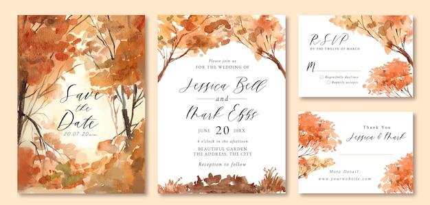 オレンジの木の森のロマンチックな水彩画の風景と結婚式の招待状