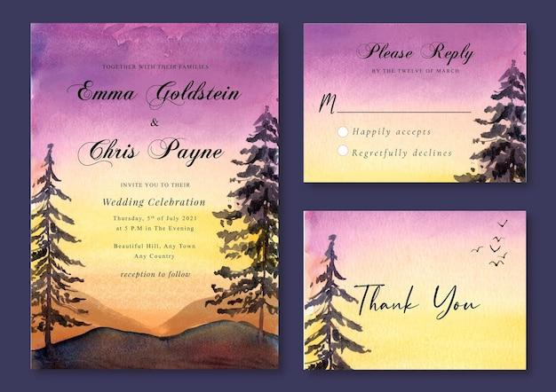 ロマンチックな夕日と松の木の水彩画の風景と結婚式の招待状