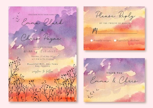 夕焼けオレンジ色の空の水彩画の風景と結婚式の招待状