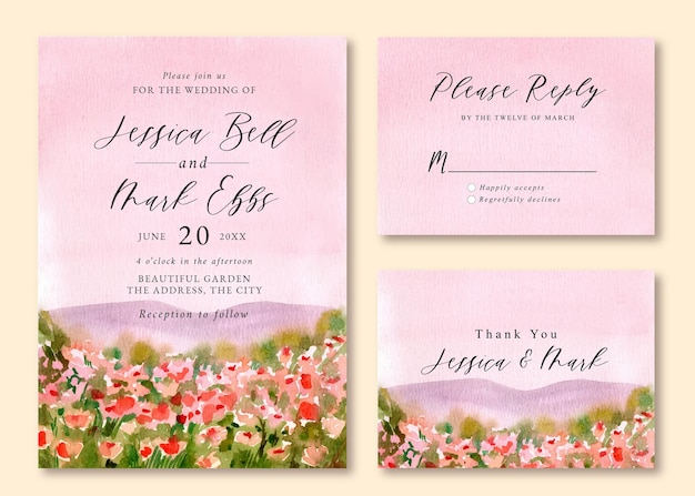 Wedding invitation with watercolor landscape of pink floral field