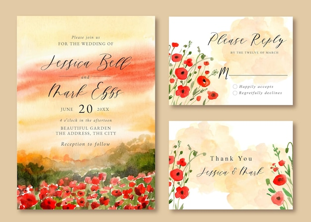 Wedding invitation with watercolor landscape of red poppies field