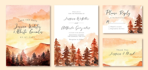 Wedding invitation with watercolor landscape of romantic sunset and pine tree