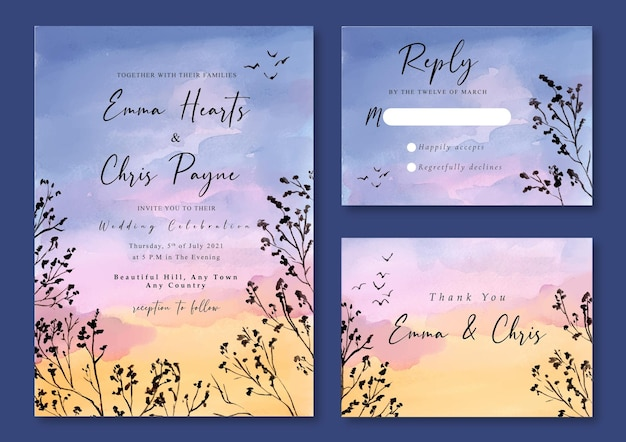 Wedding invitation with watercolor landscape of sunset purple blue skies