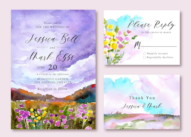 Wedding invitation with watercolor landscape of sunset skies and colorful floral field