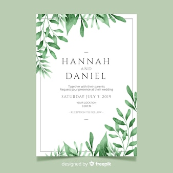 Wedding invitation with watercolor leaves template