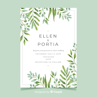 Wedding invitation with watercolor leaves