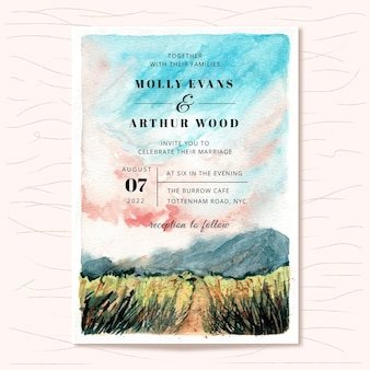 Wedding invitation with watercolor mountain landscape