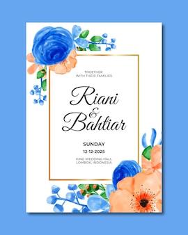 Wedding invitation with watercolor orange blue flowers