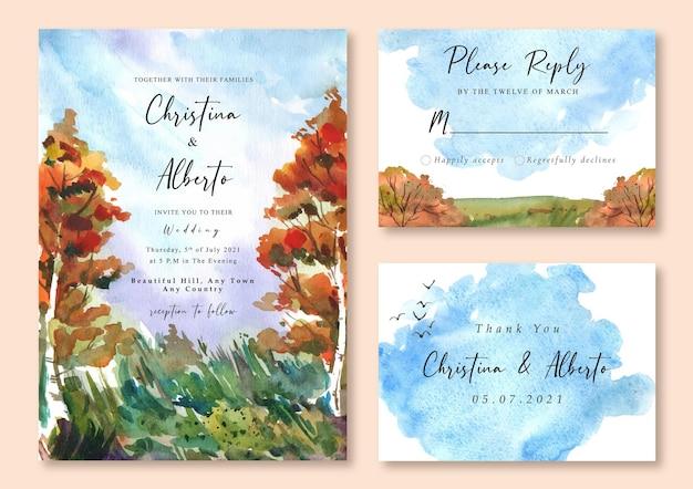 春の水彩オレンジの木と緑の草と結婚式の招待状