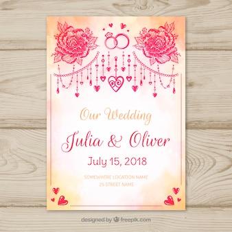 Wedding invitation with watercolor ornaments