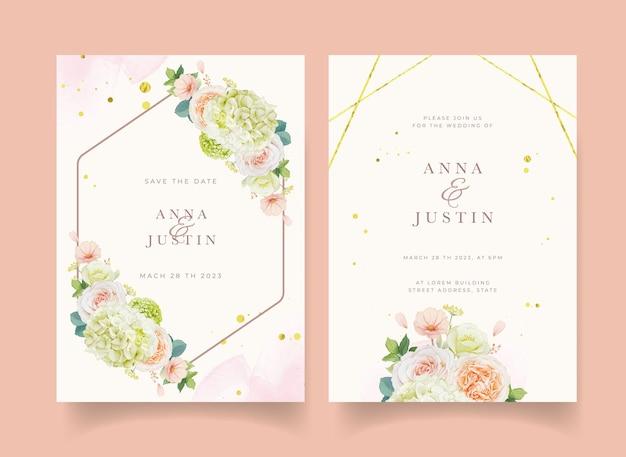 Приглашение на свадьбу с акварельными персиковыми розами и цветком гортензии