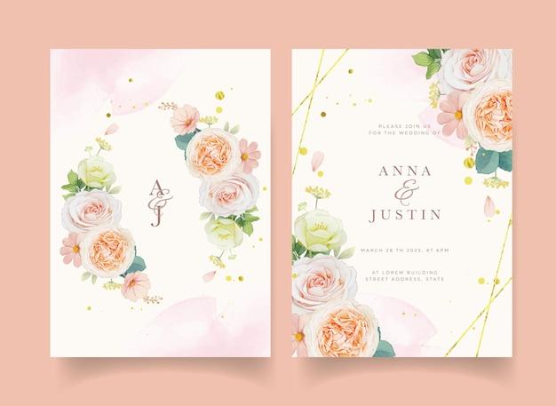 수채색 복숭아 장미와 수국 꽃이 있는 청첩장