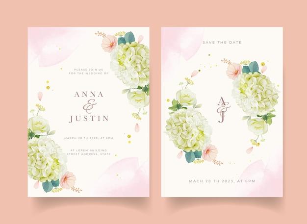 水彩の桃のバラとアジサイの花の結婚式の招待状