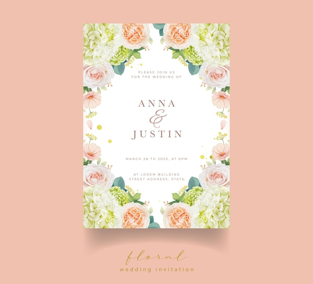 Wedding invitation with watercolor peach roses and hydrangea flower