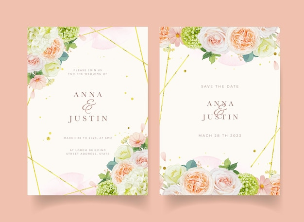 Wedding invitation with watercolor peach roses and hydrangea flower Free Vector