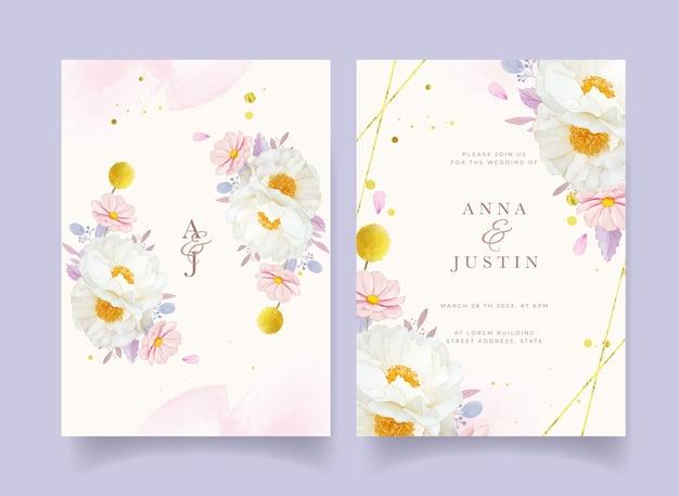 水彩の牡丹の花と結婚式の招待状