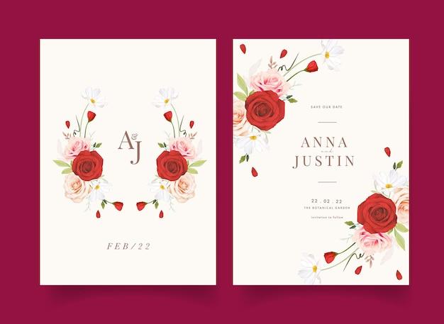 수채화 핑크와 붉은 장미와 청첩장