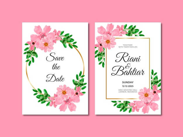 Wedding invitation with watercolor pink flowers