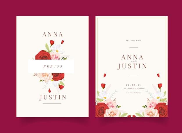 Invito a nozze con rose rosa e rosse dell'acquerello