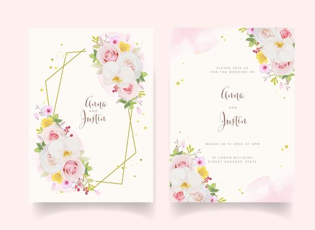 水彩ピンクのバラと蘭の結婚式の招待状