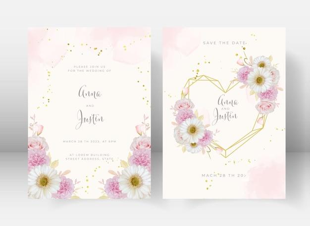 수채화 핑크 장미와 흰 거베라 꽃 청첩장
