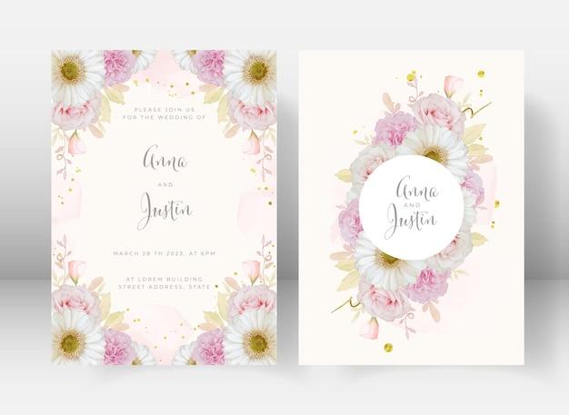 水彩ピンクのバラと白いガーベラの花と結婚式の招待状