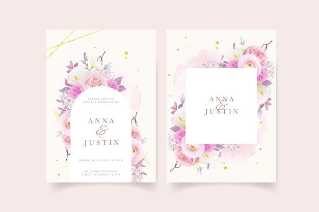 水彩ピンクのバラのユリとラナンキュラスの花の結婚式の招待状