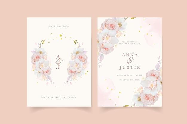 수채화 핑크 장미 난초와 아네모네 꽃 청첩장