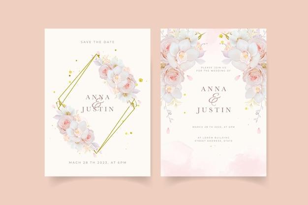 Invito a nozze con orchidea rosa rosa acquerello e fiore di anemone