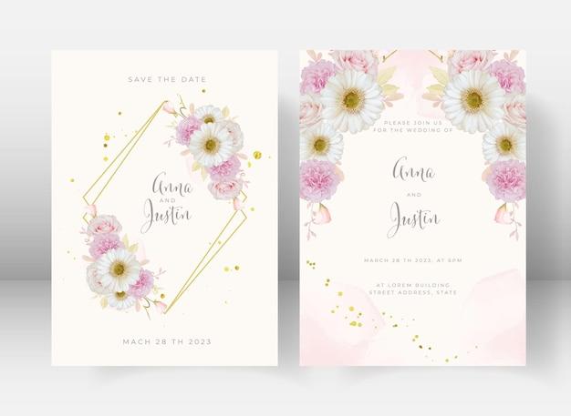 Invito a nozze con rosa rosa acquerello e fiore di gerbera bianca Vettore gratuito