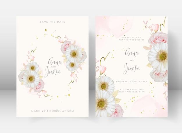 Invito a nozze con rosa rosa acquerello e fiore di gerbera bianca