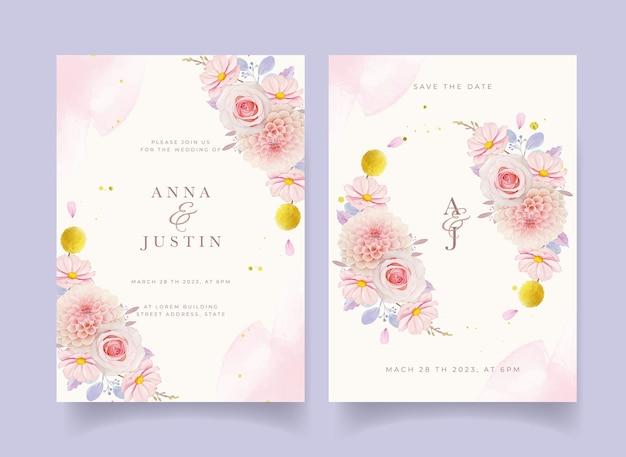 水彩ピンクのバラとダリアの結婚式の招待状