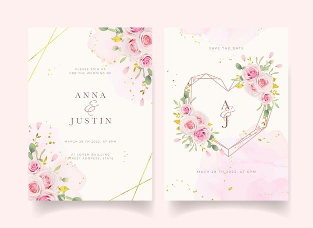 水彩ピンクのバラと金の飾りと結婚式の招待状