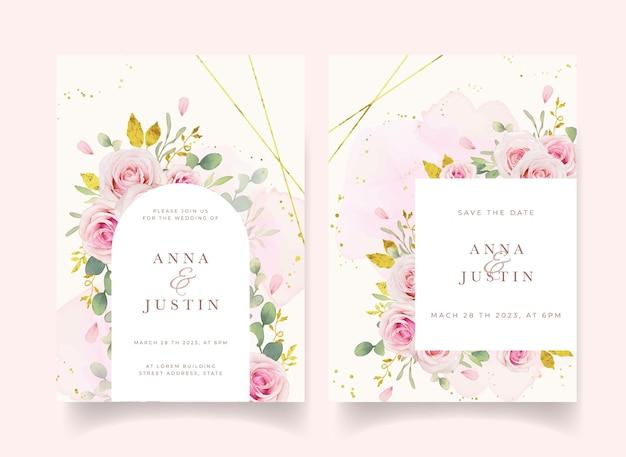수채화 핑크 장미와 골드 장식 웨딩 초대장