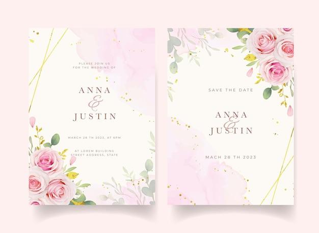 Приглашение на свадьбу с акварельными розовыми розами и золотым орнаментом