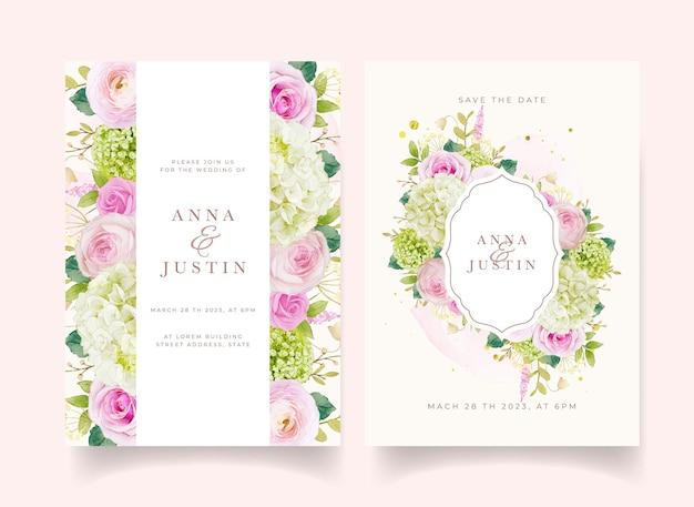 Приглашение на свадьбу с акварельными розовыми розами и гортензией
