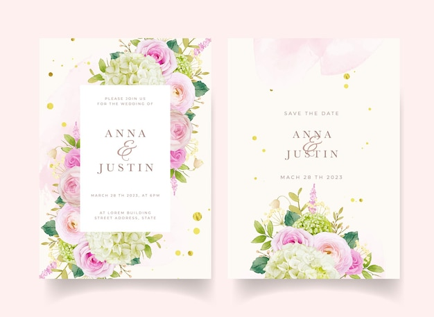 水彩ピンクのバラとアジサイの結婚式の招待状